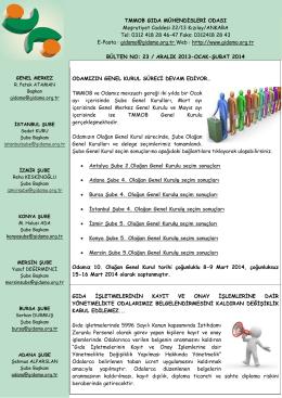 TMMOB GIDA MÜHENDİSLERİ ODASI Meşrutiyet Caddesi 22/13