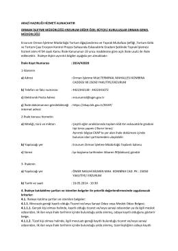 Erzurum İhale İlanı - Orman Genel Müdürlüğü