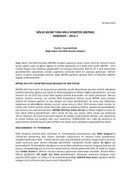 BÖLGE BİLİMİ TÜRK MİLLİ KOMİTESİ (BBTMK) HABERLER – 2014-1