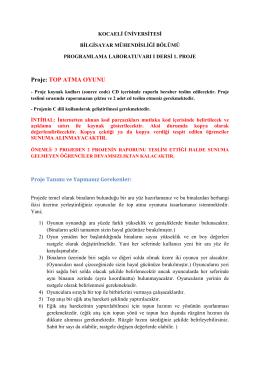 Proje: TOP ATMA OYUNU - Kocaeli Üniversitesi Bilgisayar
