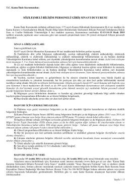 sözleşmeli bilişim personeli giriş sınavı duyurusu