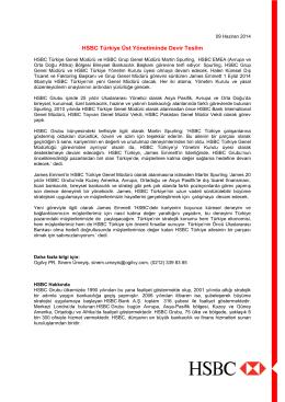 HSBC Türkiye Üst Yönetiminde Devir Teslim