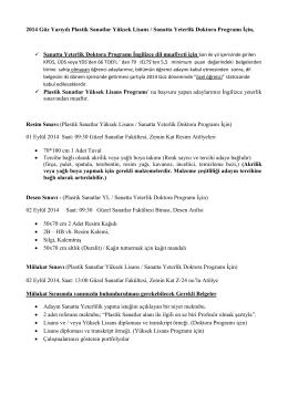2014 Güz Yarıyılı Plastik Sanatlar Yüksek Lisans / Sanatta Yeterlik