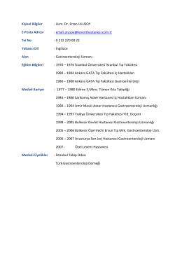 Kişisel Bilgiler : Uzm. Dr. Ertan ULUSOY E-Posta