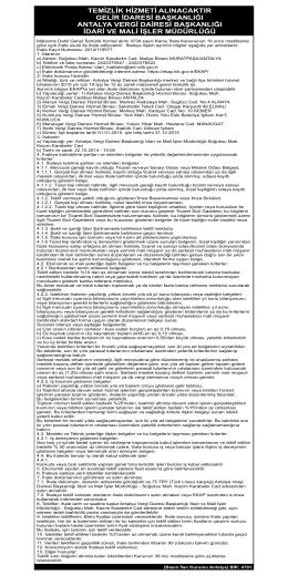 26.09.2014 Antalya Vergi Dairesi Temizlik Hizmet