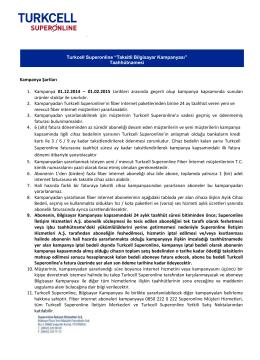 Kampanya Şartları 1. Kampanya 01.12.2014 – 01.02