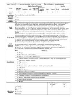 DERSİN ADI: EĞT 218 / Öğretim Teknolojileri ve Materyal Tasarımı