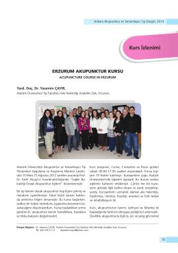 Kurs İzlenimi - Ankara Akupunktur Derneği