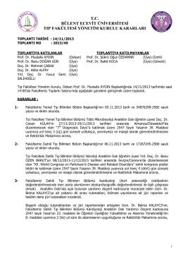 14/11/2013 Tıp Fakültesi Yönetim Kurulu Kararı