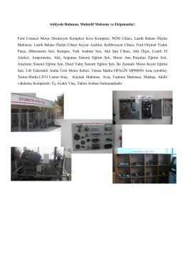 Atölyede Bulunan, Muhtelif Malzeme ve Ekipmanlar: Ford Connect