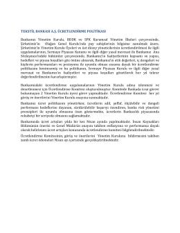 Tekstilbank Ücretlendirme Politikası
