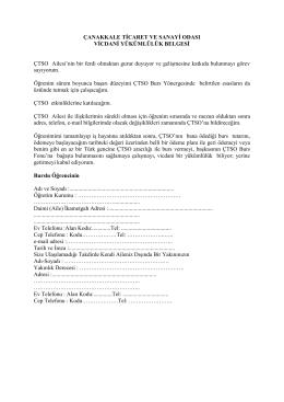 vicdani yükümlülük belgesi - Çanakkale Ticaret ve Sanayi Odası