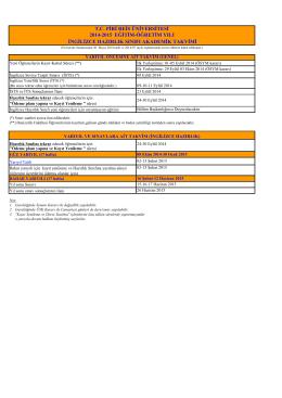 2014-2015 eğitim-öğretim yılı ingilizce hazırlık sınıfı akademik