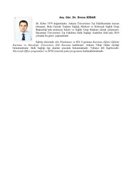 Dr. Evren Kibar - Hacettepe Üniversitesi Tıp Fakültesi Halk Sağlığı