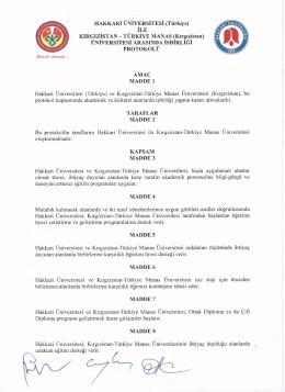 HAKKARİ ÜNİVERSİTESİ (Türkiye) İLE KIRGIZİSTAN