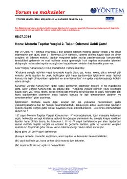 Motorlu Taşıtlar Vergisi 2. Taksit Ödemesi Geldi Çattı!