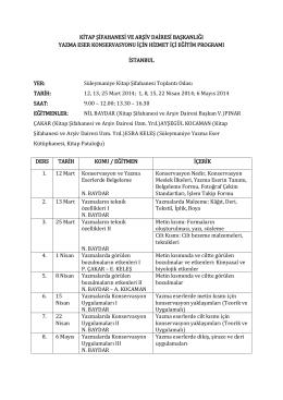 İstanbul Eğitim Programı 2014