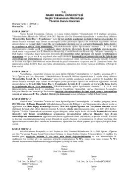 T.C. NAMIK KEMAL ÜNİVERSİTESİ Sağlık Yüksekokulu Müdürlüğü