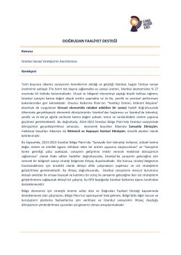 DOĞRUDAN FAALİYET DESTEĞİ - İstanbul Kalkınma Ajansı