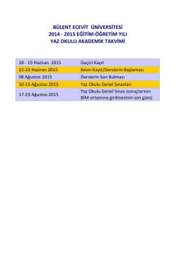 2014–2015 eğitim-öğretim yılı yaz okulu akademik takvimi