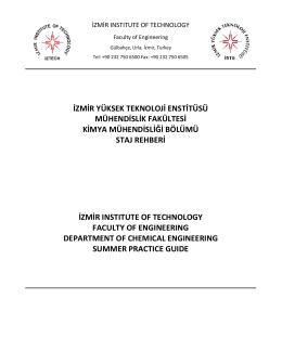 staj - izmir yüksek teknoloji enstitüsü kimya mühendisliği bölümü