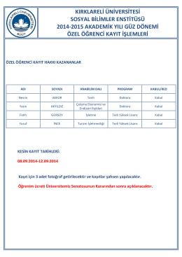 kırklareli üniversitesi sosyal bilimler enstitüsü 2014