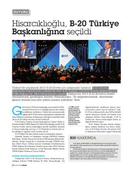 Hisarcıklıoğlu, B-20 Türkiye Başkanlığına seçildi