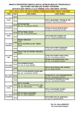 2011,2012, 2013 ve 2014 girişli öğrencilerin sınav takvimi