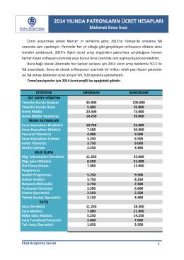 2014 yılında patronların ücret hesabı