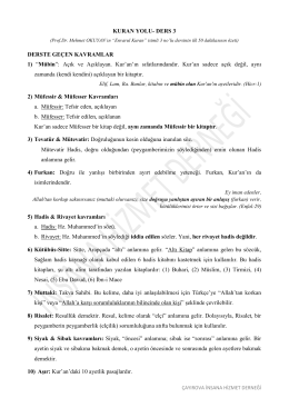 """KURAN YOLU- DERS 3 DERSTE GEÇEN KAVRAMLAR 1) """"Mübin"""