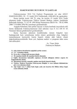 Kurs Duyuru ve Şartları - TÜRKİYE Modern Pentatlon Federasyonu