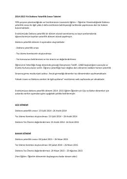 2014-2015 Yılı Doktora Yeterlilik Sınavı Takvimi YÖK çerçeve