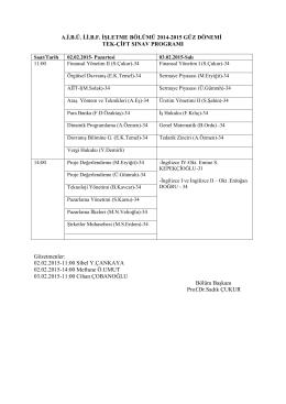 İşletme Bölümü 2014-2015 Güz dönemi tek