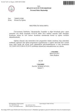 Hizmet İçi Eğitim - Bülent Ecevit Üniversitesi