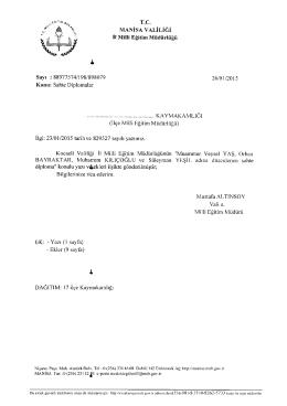 Sahte Diploma konulu Manisa İl Milli Eğitim Müdürlüğünün 26/01