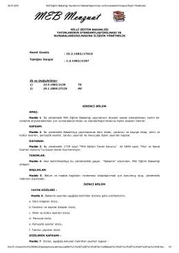 29.01.2015 Millî Eğitim Bakanlığı Yayınlarının Standartlaştırılması ve