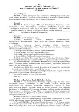 Uluslararası İlişkiler Koordinatörlüğü Yönergesi