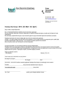 Freie Hansestadt Bremen Paskalya Okul Kampı 2015 (25. Mart