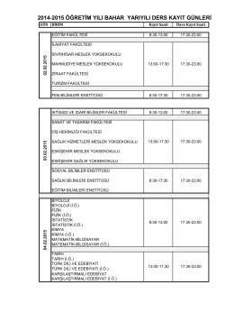 2014-2015 öğretim yılı bahar yarıyılı ders kayıt günleri