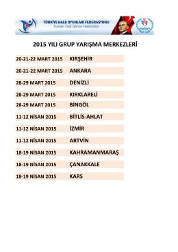 2015 yılı grup yarışma merkezleri