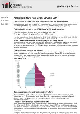 Adrese Dayalı Nüfus Kayıt Sistemi Sonuçları-(2014