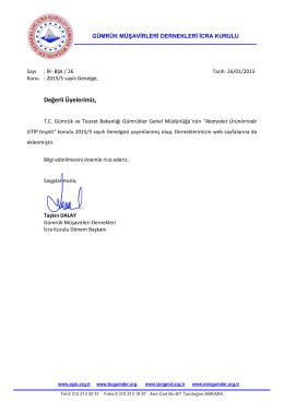 İK-BŞK-26 2015-5 sayılı Genelge