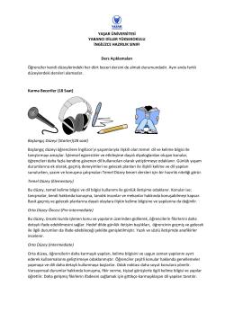 Ders Açıklamaları - Yaşar Üniversitesi | Yabancı Diller Yüksekokulu