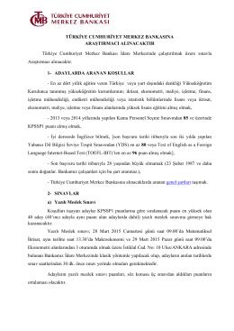 türkiye cumhuriyet merkez bankası`na araştırmacı alınacaktır