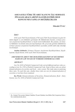 6102 Sayılı Türk Ticaret Kanunu İle Sermaye
