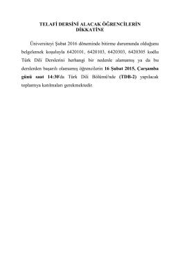 TELAFİ DERSİNİ ALACAK ÖĞRENCİLERİN DİKKATİNE Üniversiteyi