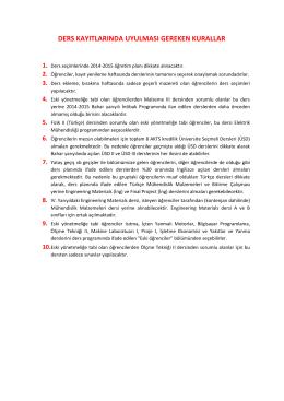 ders kayıtlarında uyulması gereken kurallar