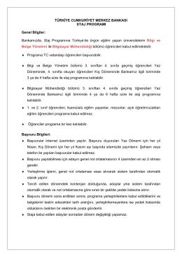 TCMB Staj-Genel Bilgi(05.02.2015)