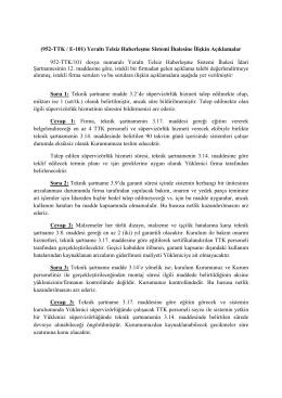 (952-TTK / E-101) Yeraltı Telsiz Haberleşme Sistemi İhalesine İlişkin