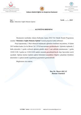 TALEP EDEN BÖLÜM - Ankara Atatürk Eğitim ve Araştırma Hastanesi